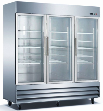 Three-Glass-Door-Reach-In-Cooler-Stainless-Steel